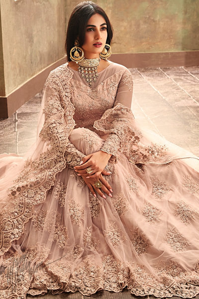 Light Peach Net Floor Length Anarkali Suit