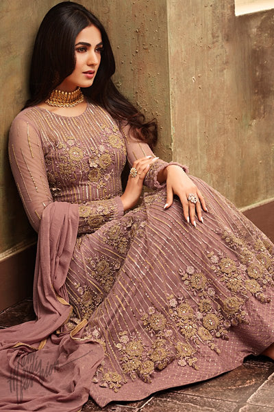 Onion Pink Net Ankle Length Layered Anarkali Suit