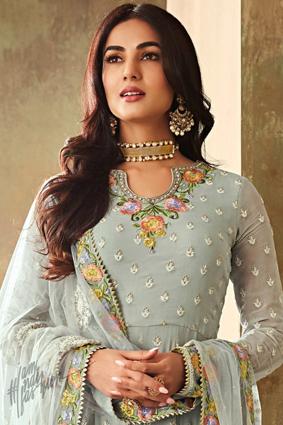 Light Sky Blue Georgette Ankle Length Anarkali Suit with Palazzo Pants