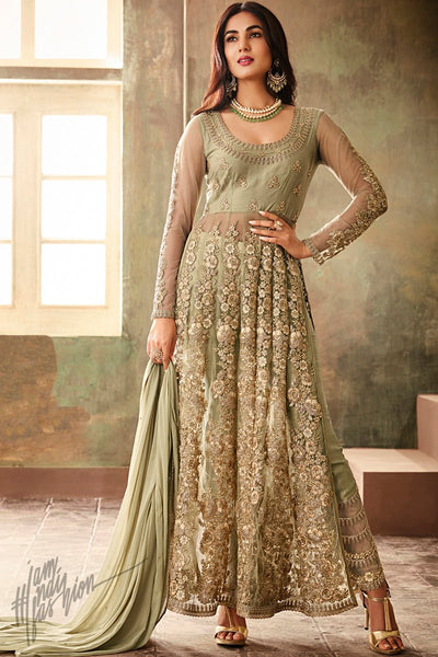 Olive Green Net Ankle Length Anarkali Suit with koti