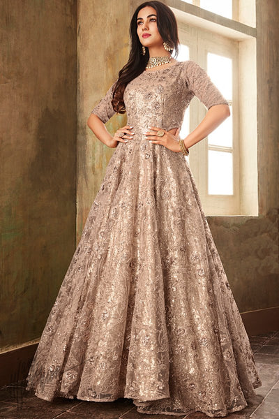 Light Baby Pink Net Floor Length Anarkali Suit