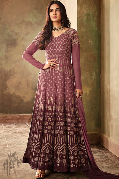 Plum Purple Shaded Georgette Ankle Length Anarkali Suit