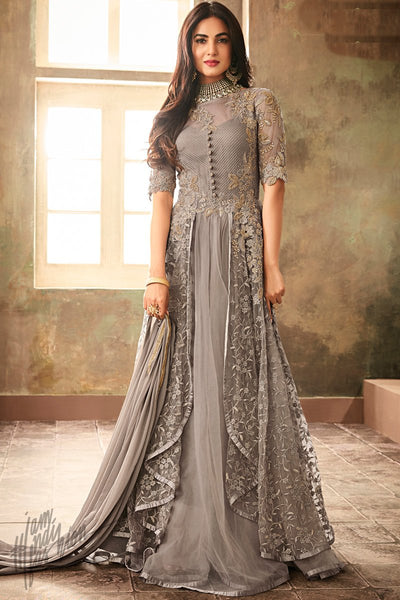 Gray Net Floor Length Panelled Anarkali Suit
