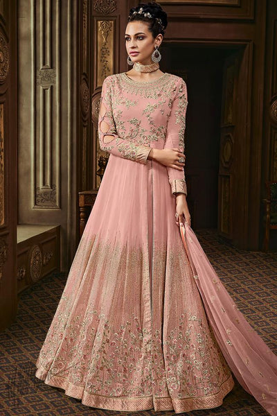 Baby Pink Georgette Wedding Anarkali Suit with Choker