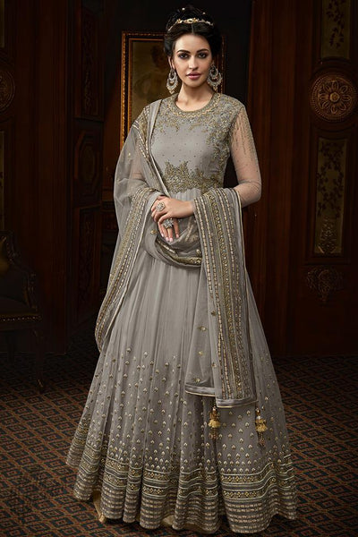 Gray Net Wedding Anarkali Suit