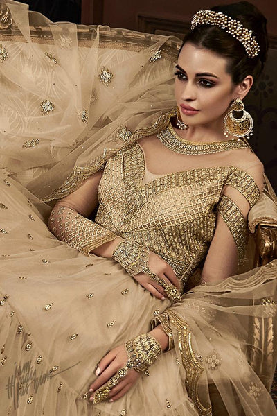 Light Coffee Net Wedding Anarkali Suit