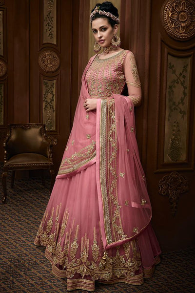 Rose Pink Net Wedding Anarkali Suit