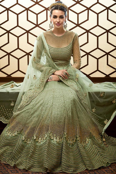 Pista Green Net Wedding Anarkali Suit