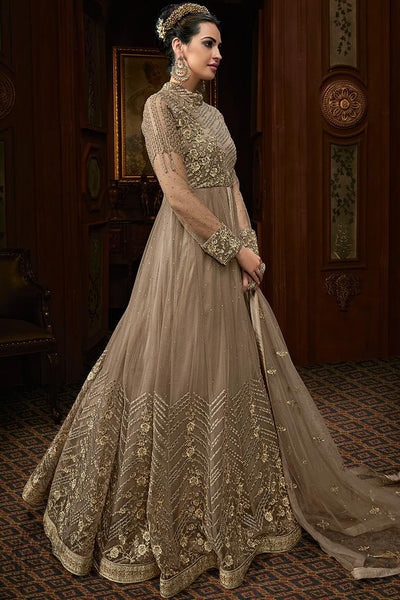 Espresso Brown Net Wedding Anarkali Suit