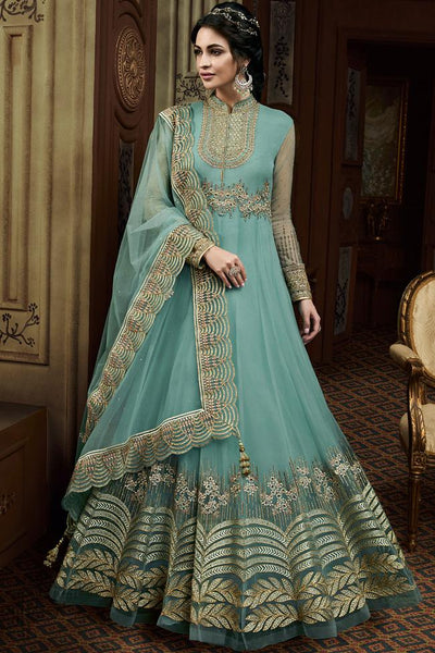 Sky Blue Net Wedding Anarkali Suit