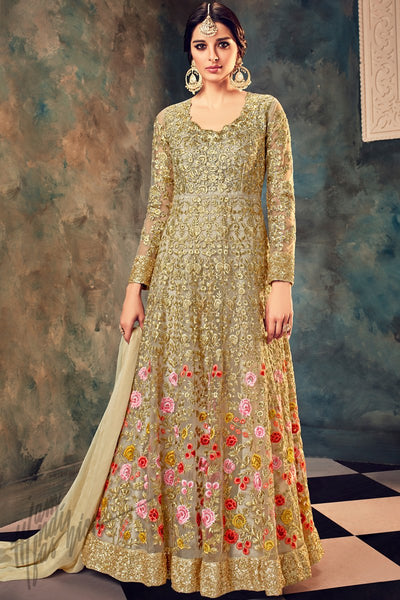Indi Fashion Gold Net Embroidered Party Wear Ankle Length Suit