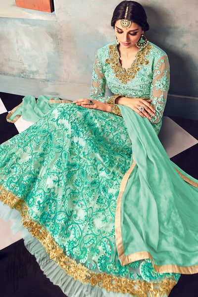 Indi Fashion Light Green Net Embroidered Party Wear Floor Length Suit