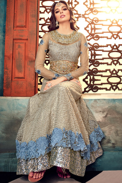 Indi Fashion Gray Net Layered Embroidered Party Wear Floor Length Suit