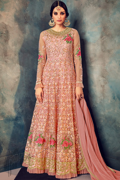 Indi Fashion Baby Pink Net Embroidered Party Wear Floor Length Suit