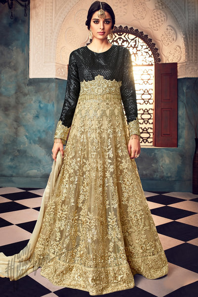 Indi Fashion Black and Gold Net Embroidered Party Wear Floor Length Suit