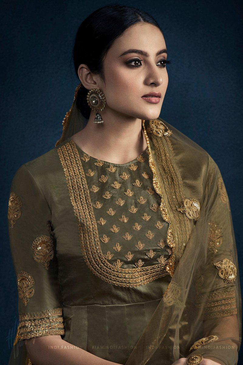 Seaweed Green Silk Satin Georgette Anarkali Suit