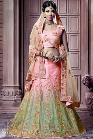 Indi Fashion Baby Pink and Pista Green Shaded Silk Lehenga Choli Set