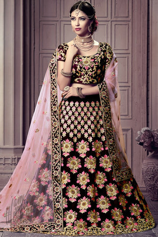 Indi Fashion Wine and Baby Pink Dual Tone Velvet Lehenga Choli Set