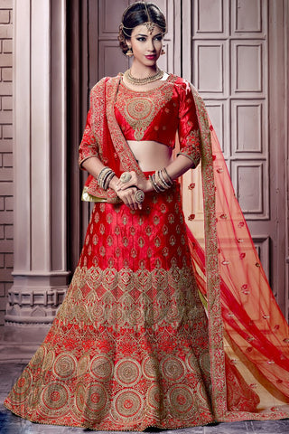 Indi Fashion Red Satin Lehenga Choli Set
