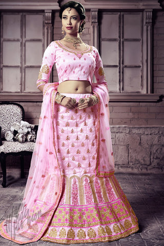 Indi Fashion Baby Pink Mastani Silk Lehenga Choli Set