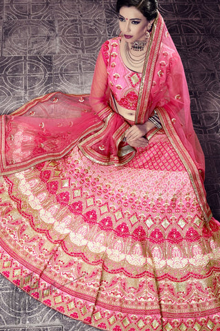 Indi Fashion Gajari Pink Chennai Silk Lehenga Choli Set