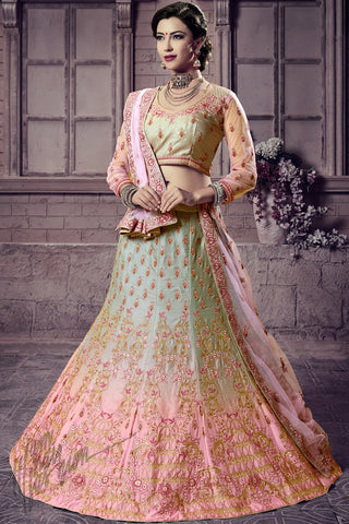 Indi Fashion Pista Green and Baby Pink Shaded Silk Lehenga Choli Set