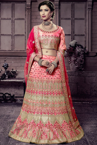 Indi Fashion Gajari Pink Mastani Silk Lehenga Choli Set