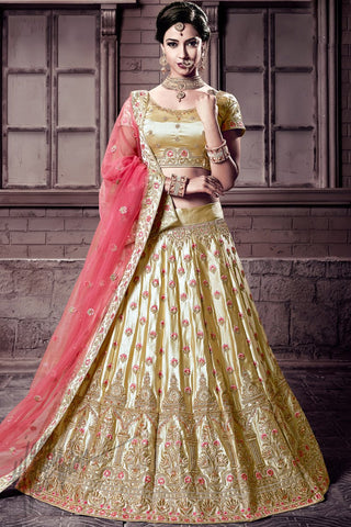 Indi Fashion Chiku Gold and Gajari Pink Satin Lehenga Choli Set