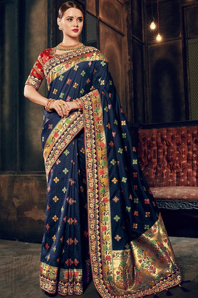 Indi Fashion Navy Blue and Red Banarasi Silk Saree