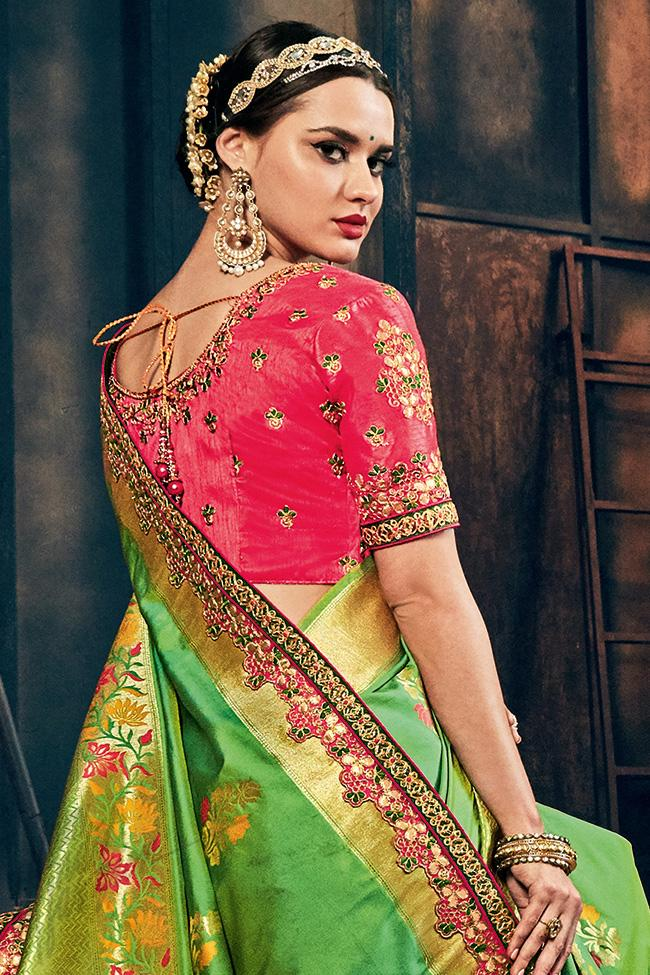 Indi Fashion Green and Magenta Banarasi Silk Saree