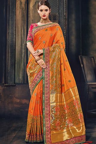 Indi Fashion Orange and Magenta Banarasi Silk Saree