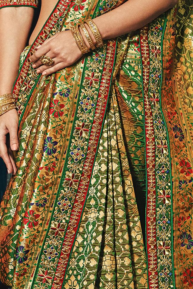 Indi Fashion Green Banarasi Silk Saree
