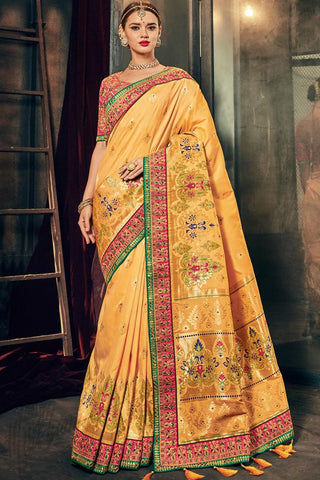 Indi Fashion Light Mustard and Pink Banarasi Silk Saree