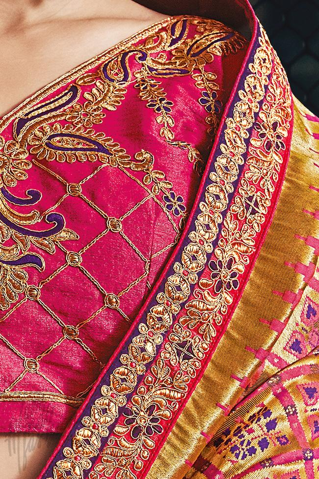 Indi Fashion Magenta Banarasi Silk Saree
