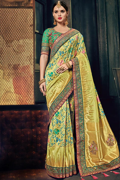 Indi Fashion Lemon and Green Banarasi Silk Saree