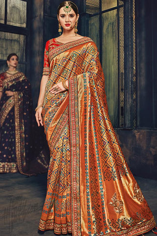 Indi Fashion Orange and Red Banarasi Silk Saree