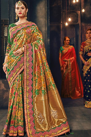 Indi Fashion Gold and Green Banarasi Silk Saree