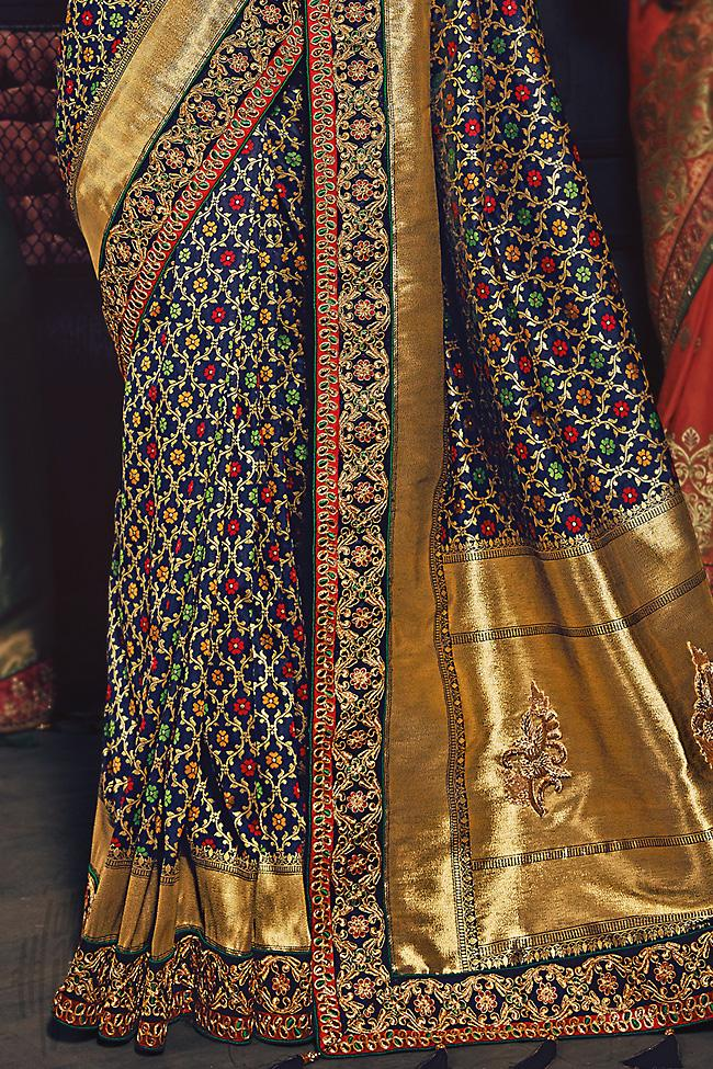 Indi Fashion Blue and Red Banarasi Silk Saree