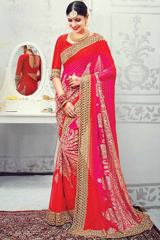 Indi Fashion Red and Gold Pure Georgette Wedding Saree