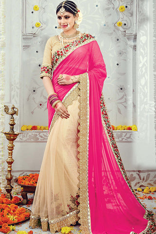 Indi Fashion Light Peach and Pink Lycra Net Wedding Saree