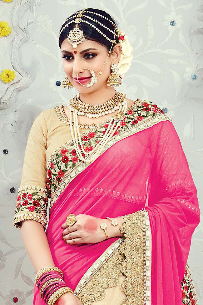 Buy Light Peach and Pink Lycra Net Wedding Saree Online at indi.fashion
