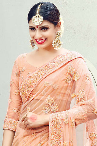 Indi Fashion Peach Net Wedding Saree