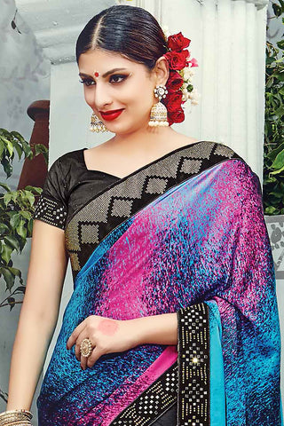 Indi Fashion Black Multicolor Pure Satin Silk Wedding Saree