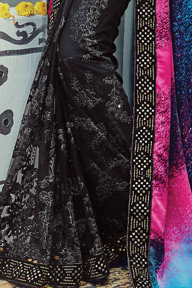 Buy Black Multicolor Pure Satin Silk Wedding Saree Online at indi.fashion