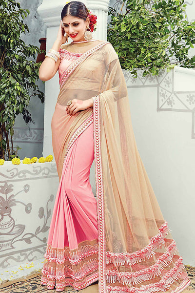 Buy Baby Pink and Beige Net Lycra Wedding Saree Online at indi.fashion