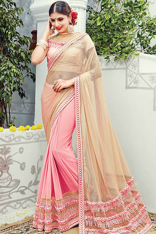 Indi Fashion Baby Pink and Beige Net Lycra Wedding Saree