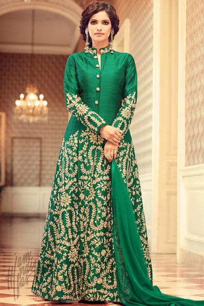 Indi Fashion Green Taffets Silk Floor Length Party Wear Suit