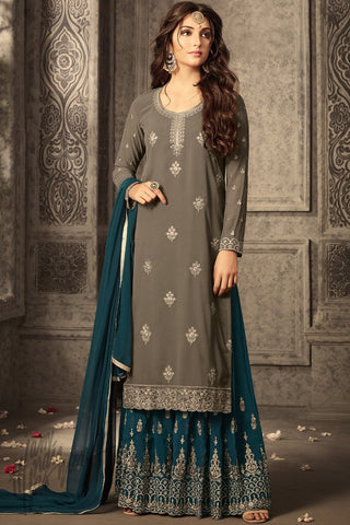Indi Fashion Gray and Peacock Blue Georgette Party Wear Palazzo Suit