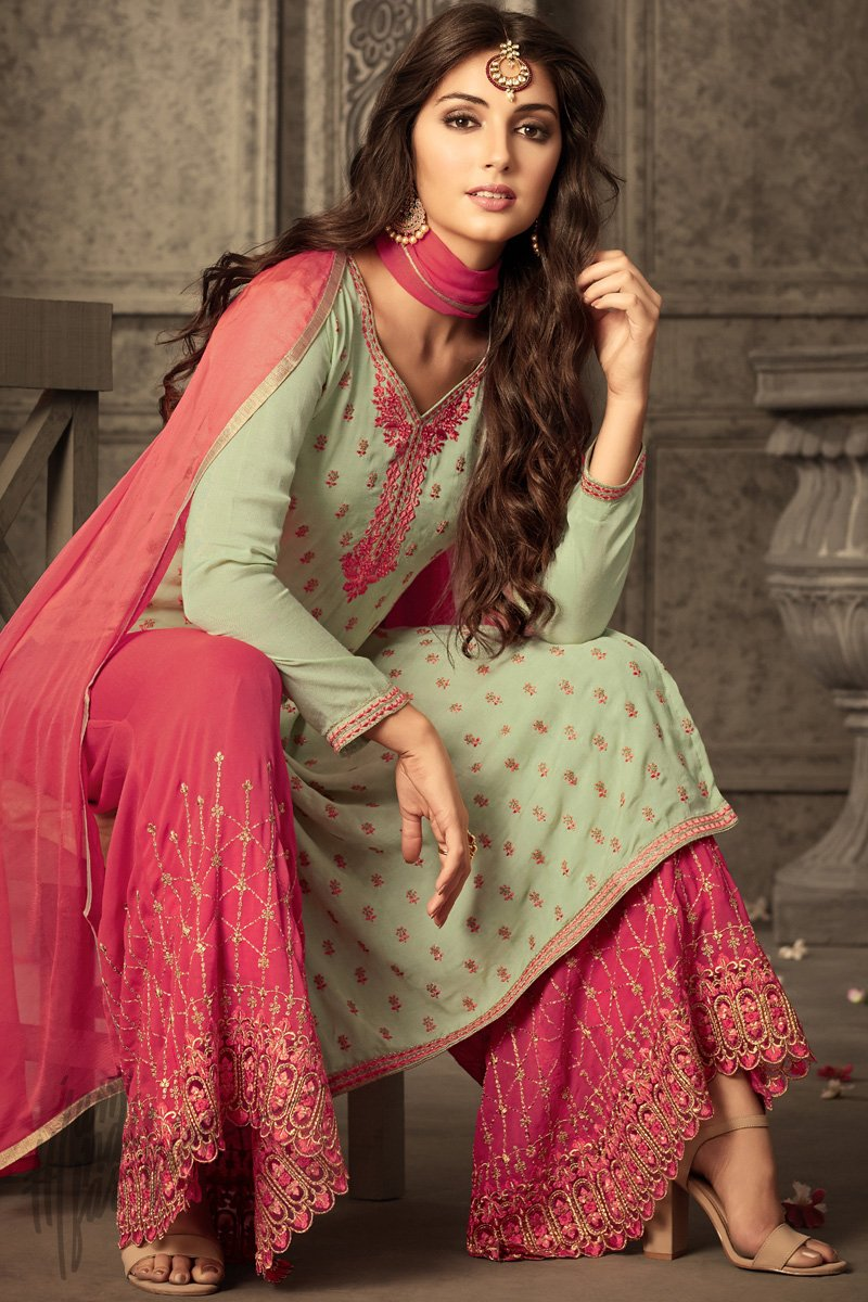 4636f4da5b Light Green and Hot Pink Georgette Party Wear Palazzo Suit - indi ...