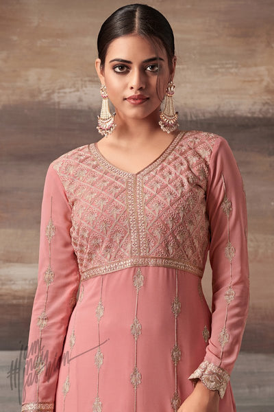 Indi Fashion Light Pink Georgette Party Wear Straight Suit